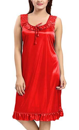 Lovira Women's Satin Solid Knee Length Babydoll (LVR_NIGHTY_1103_Cherry Red)