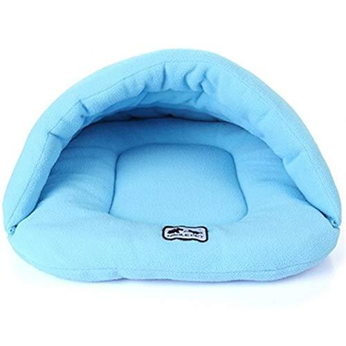 FENXIMEI Puppy Kennel House Voor Katten Slaapzak Nest Grot Bed 6 Kleuren Zachte Polar Fleece Hondenbedden Winter Warm Huisdier Verwarmde Mat Kleine Hond, XS, luchtblauw