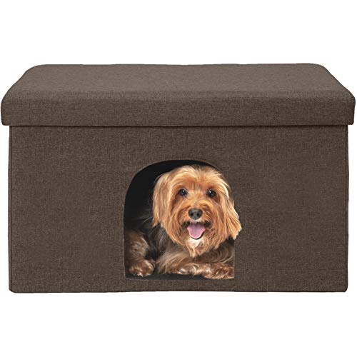 Furhaven Pet Dog & Cat House | Ottoman Footstool Collapsible Living Room Pet House Condo for Cats & Small Dogs, Coconut Brown, Large