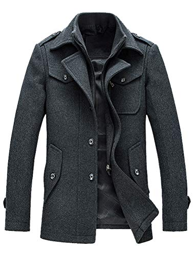 Lavnis Herren Warm Wollmantel Stehkragen Wintermantel Kurzmantel Winter Jacke Business Freizeit (XL, Style6-Grau)