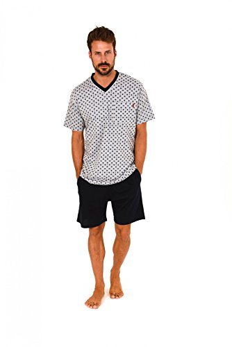 Herren Shorty Pyjama Kurzarm Schlafanzug in Übergrössen - 60717, Farbe:grau-Melange, Größe2:60