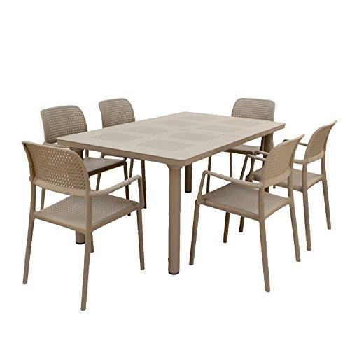 Nardi ZN/dlibcs-06dbrs Libeccio da Tavolo con 6Set di sedie Bora, Tortora, 61x 103x 115cm