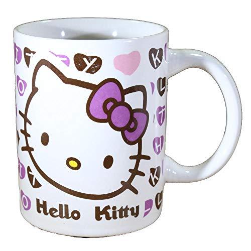 Tazza da colazione da bambina in ceramica originale Hello Kitty fiocco viola con licenza Sanrio.
