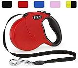 DDOXX Roll-Leine reflektierend, ausziehbar | viele Farben & Größen | für kleine & große Hunde | Hundeleine einziehbar Welpe Katze | Hundeleinen Zubehör Flexi-Leine Hund | M, 5 m, bis 20 kg, Rot
