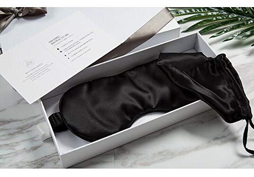 YUNS Advanced 19 Momme Mulberry Silk Sleep Mask, Both Sides Silk, Silk Covered Elastic Band, Big Size 22X10cm, Anti-Aging, Anti-Eye Wrinkles, Light-Blocking, 1pc.(Black+Bag)