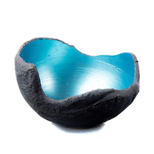 Lichtschale gletschereis blau - S (15cm) - Beton schwarz - grau - Unikat handmade - Windlicht - Geburtstagsgeschenk - Deko - Weihnachtsgeschenk