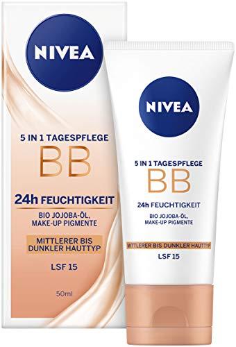 Nivea Essentials BB Cream 5in1 mittlerer bis dunkler Hauttyp im 1er Pack (1 x 50 ml), getönte...