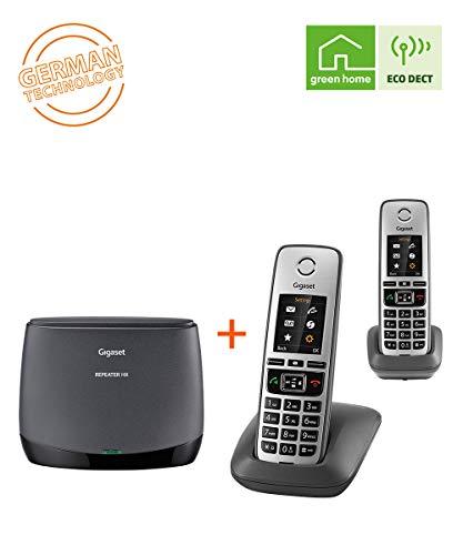 Gigaset Repeater HX + Family IP-Telefon Duo- DECT Repeater und 2 schnurlose Universal-Mobilteile für die Anbindung an alle gängigen Router, schwarz/anthrazit-grau