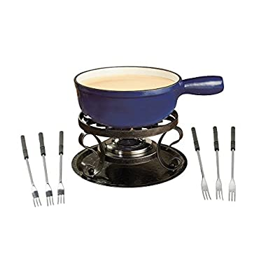 Swissmar KF-66518 Lugano 2-Quart Cast Iron Cheese Fondue Set, 9-Piece, Deep Blue