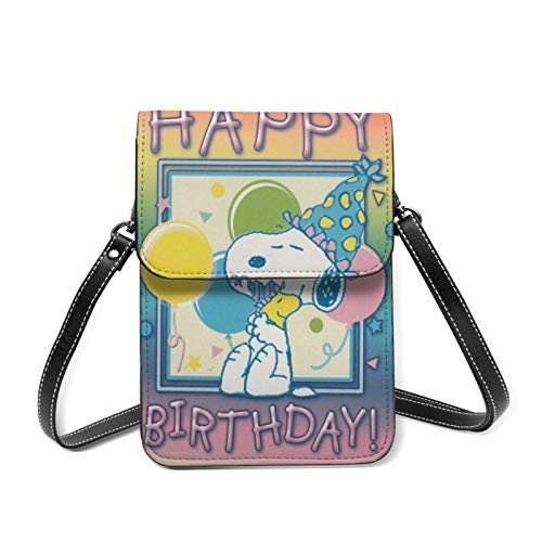 XCNGG Telefontasche Sn-oopy and Woodst-ock Happy Birthday Women Lightweight Leather Phone Purse, Small Crossbody Bag Mini Cell Phone Pouch Shoulder Bag,Wallet Purse