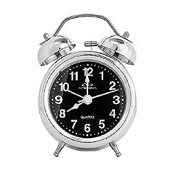 Muellery Twin Bell Clock Vintage Analog Alarm Clock Double Bell on Table Desk Steel Black TPCA99462