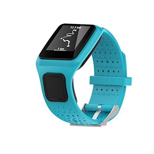 Kobwa TomTom Correa de reloj de silicona de repuesto para TomTom Runer/TomTom Runner Cardio/TomTom Multi-Sport GPS HRM y más Smartwatch, color azul celeste