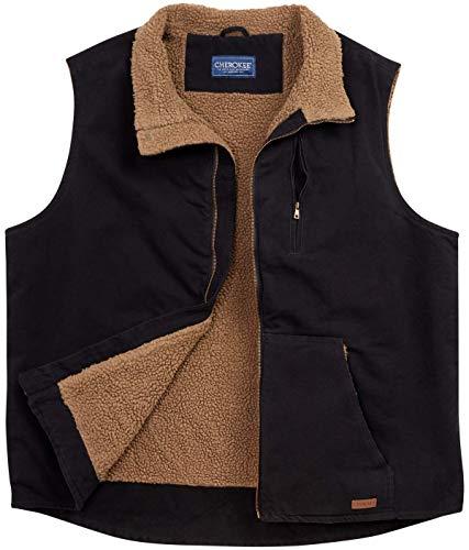 CHEROKEE Men's Sherpa Lined Vest, Size 2XL, Black'