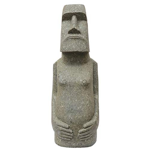 STONE art & more Moai - Figura de isla de Pascua con cuerpo, 100 cm, piedra volcánica verde, basanita, trabajo de piedra, resistente a las heladas