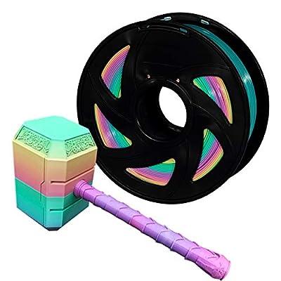 PLA 3D Printer Filament, XVICO PLA Filament 1.75mm Multicolor Rainbow, for FDM 3D Printer 1 KG Spool (2.2 lbs) Beautiful Gradient Filament