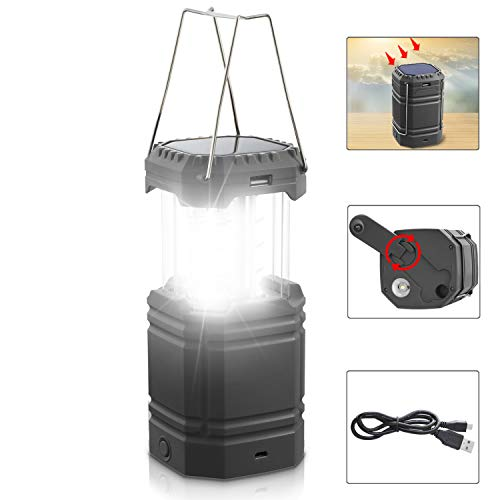LED Solar Camping Lantern Rechargeable, Hand Crank Lantern Flashlight with USB Cable((5V DC), 3 Powered Ways,3000mAh Power Bank Emergency Camp Lights, Collapsible,Waterproof for Survival Kit&Hurricane