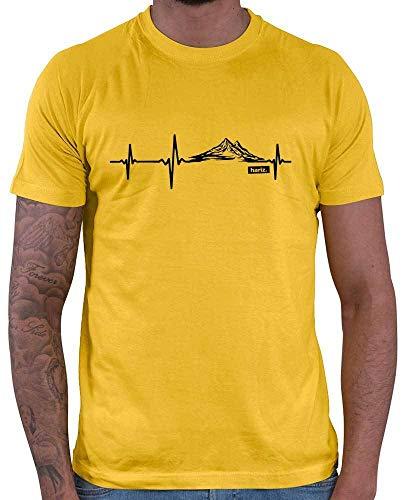 "Hariz - Camiseta para hombre con texto en inglés ""Herzschlag Berge Wander"" dorado amarillo M"