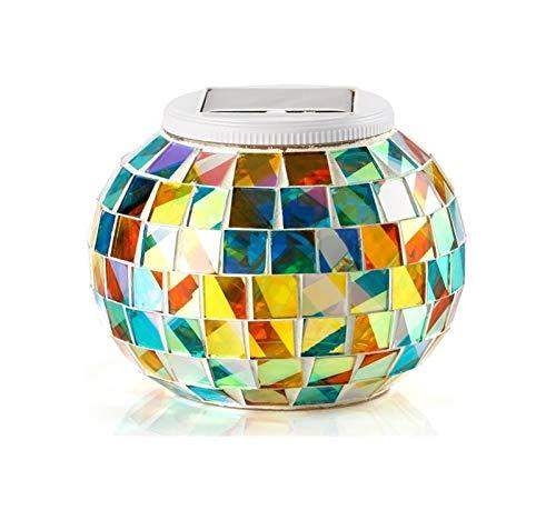 Pieza central de la mesa de luz solar de cristal de mosaico colorido Lámpara de comedor al aire libre al aire libre for fiesta, Navidad, decoraciones al aire libre / de interior Regalo for niños o adu