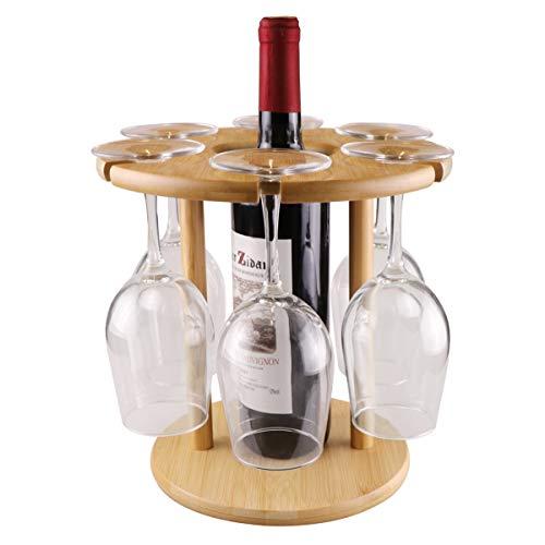 Roponan Weinglashalter für 6 Wein-Gläser und 1 Flasche, Bambus Weinregal / Weinflaschenhalter, Geschenk für Weinliebhaber, geeignet zum Aufstellen auf dem Esstisch oder der Bar in der Küche