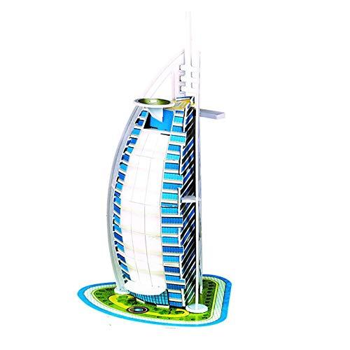 QiKun-Home Rompecabezas estéreo 3D Mini-Mundo Modelo arquitectónico Rompecabezas Rompecabezas de Papel para niños Notre Dame en París Multicolor Burj Al Arab