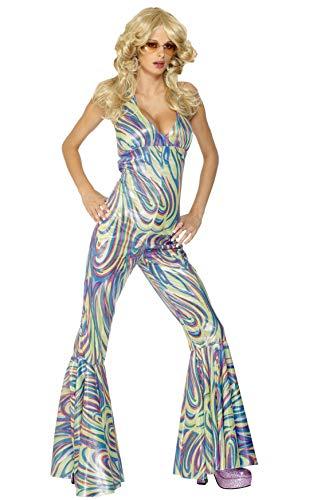 Smiffys Damen 70er Dancing Queen Kostüm, Nackenträger Catsuit, Größe: S, 28074