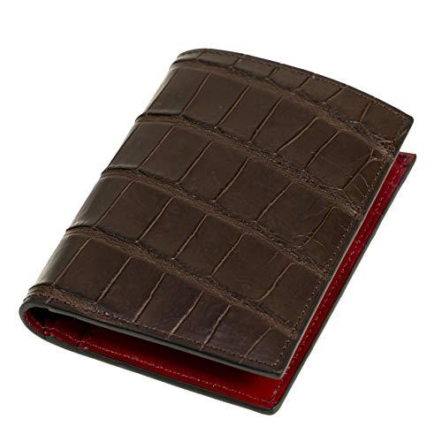 Chiccheria Brand Portemonnaie | Echtes Krokodilleder | Brieftasche | Herren | Braun-Rot | Made in Italy | Bekannt aus GQ