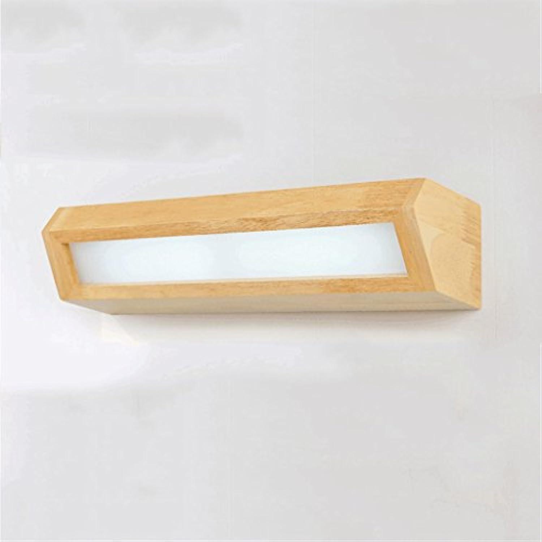 PIAOLING Japanischen Stil LED-Massivholz Wandleuchte, moderne einfache Polygon Spiegel vorne Licht, Gang Treppe Badezimmer Schlafzimmer Nachttisch Beleuchtung, weies Licht (Gre   S)