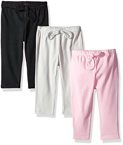 Hudson Baby Baby Cotton Pants and Leggings, Light Pink Black, 2 Toddler