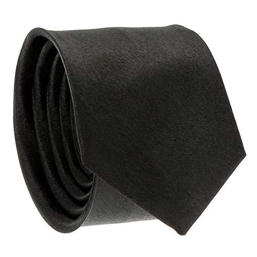 Cravate Fine Noire - Cravate Homme Coupe Slim Moderne - 5cm à la Pointe - Couleur Unie - Accessoire Chemise pour Mariage, Cérémonie