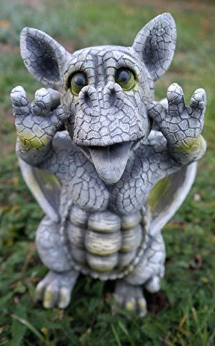 Kremers-Schatzkiste Freches Drachenkind schneidet Grimasse 27 cm Drache Figur Gartenfigur Gargoyle Skulptur
