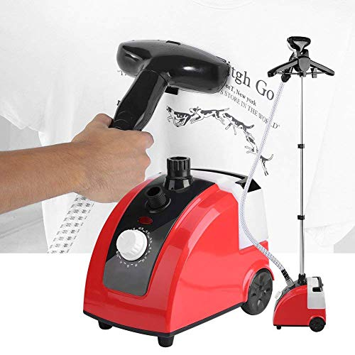 Yosooo Clothes Steamer, 110V 1.7L Standing Clothes Steamer 1700W Portable Garment Steamer Fabric Steamer with Garment Hanger and Steam Pipe for Home Bedroom Clothes Wrinkle Removing (Red)