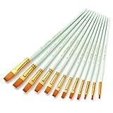12 pinceles planos de nailon con mango de madera para acuarela, para manualidades, acrílico al óleo