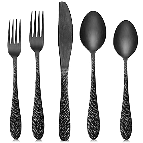SoulFox Matte Black Silverware Set,20-Piece Flatware Cutlery Set in Ergonomic Design Size and Weight, Stainless Steel Flatware Set for 4.Used for Home and Restaurant, Dishwasher Safe(Black)