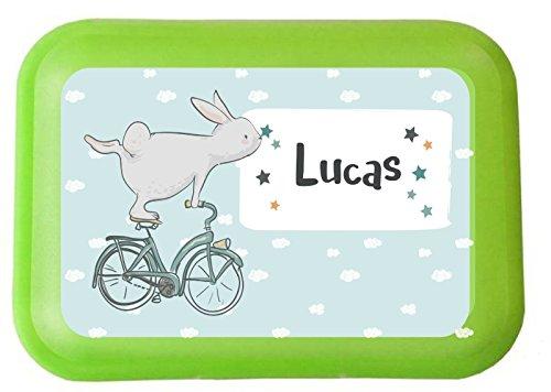 wolga-kreativ Aufkleber wasserfest-e Hase Fahrrad für Brotdose Wunschname personalisiert mit Name-n Schulanfang Namensaufkleber Namensetiketten Mädchen Junge Kinder Schule selbstklebend