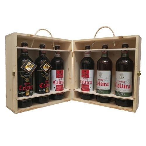 Birra Morena - Selezione 6 Craft Beer 75cl in Cassa di Abete Naturale (2 Celtica Sweet Stout, 2 Scotch Ale, 2 Celtica Super)
