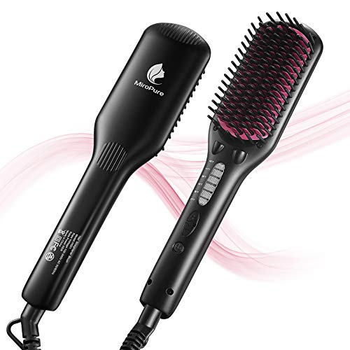 MiroPure Ionic Hair Straightener Brush, Anti-Scald Straightening Brush with Fast MCH Ceramic Heating, Adjustable Temperatures, Auto-Off & Dual Voltage, Portable Straightening Comb