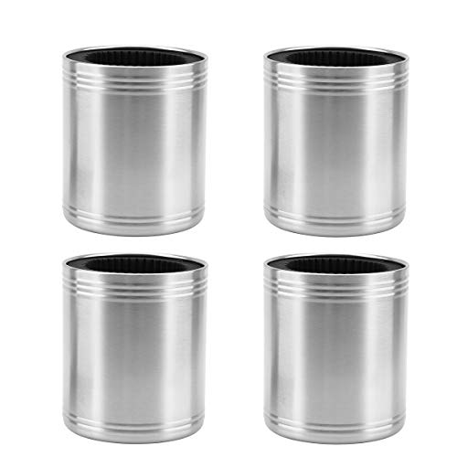 Insulated Thick Foam Single Wall Stainless Steel Can Holder (4-Pack)