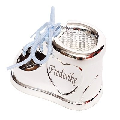 Brillibrum Design Milchzahndose Silber mit Gravur aus Metall versilbert anlaufgeschützt mit Rosa & Blauen Schnürsenkel - Zahndose mit Namen personalisiert - Baby Zahnbox für Milchzähne als Geschenke für Jungen und Mädchen