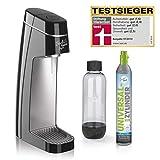 Soda Trend Style Wassersprudler-Set inkl. CO2 Zylinder | für bis zu 60 Liter Sprudelwasser, inkl. PET- Flasche (Füllmenge ca. 850ml) | Testsieger Stiftung Warentest 2019 [Schwarz]