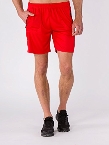 BODYCROSS Short de Course Homme Macéo Rouge Running, Training - Polyester - Respirant, Léger, 2 Poches Latérales Plaquées A Zip.