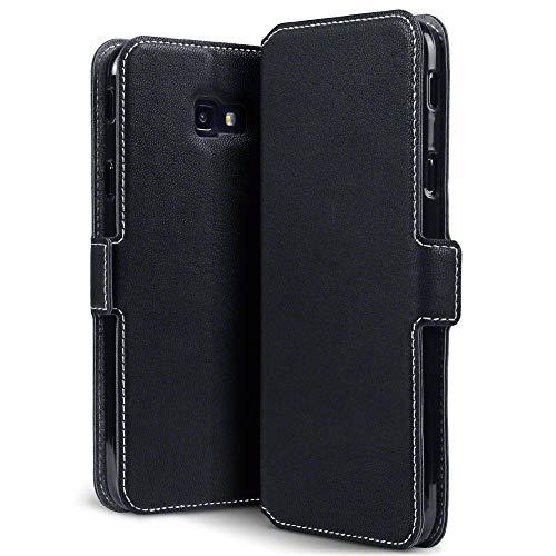 TERRAPIN, Kompatibel mit Samsung Galaxy J4 Plus 2018 Hülle, Premium Leder Flip Handyhülle Samsung Galaxy J4 Plus 2018 Tasche Schutzhülle - Schwarz