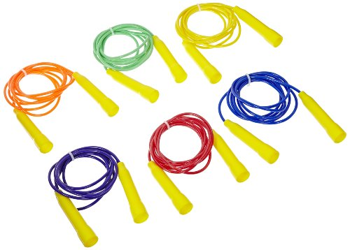 Sportime Jump Ropes, 8 Feet, Assorted Colors, Set of 6 -...