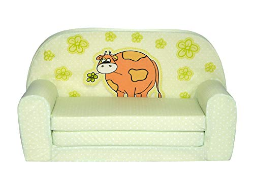 FORTISLINE Kindersofa Mini zum Aufklappen grüne Kuh W386_43