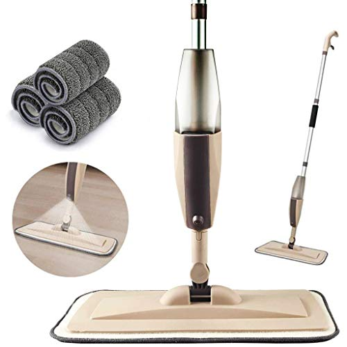 Microfiber Spray Mop for Floor Cleaning, Dry Wet Wood Floor Mop with 3 pcs Washable Pads, Handle Flat Mop with Sprayer for Kitchen Wood Floor Hardwood Laminate Ceramic Tiles Dust (Brown, Spray mop)