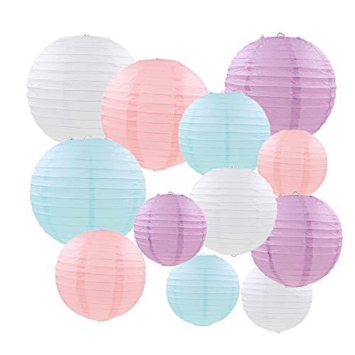 Mondeer Papierlaternen,12 Stück Pastell Farbe Runde Laterne Ballon hängen Dekorationen mit verschiedenen Größen für Hochzeit Geburtstag Baby Shower Party Home Decor - 6