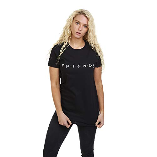 Friends Damen Titles T-Shirt, Schwarz, 36