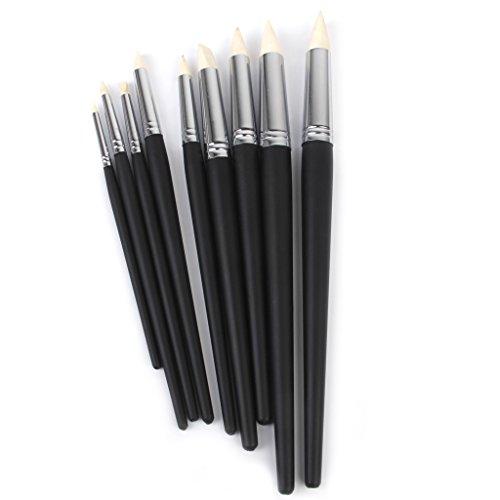 Para impresión de Pinceles de Silicona para modelar de Color Set de herramientas para puntas de 9 negro