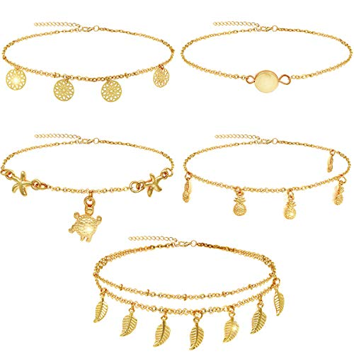 Suyi 5Pcs Chain Anklets Bracelets Adjustable Beach Anklets Foot Jewelry Set for Women Gold