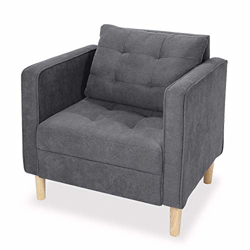 STHOUYN Mid Century Modern Fabric Accent Chair with Arms Armchair Comfy Reading Chair for Living Room Office Studio Chair, Single Sofa Recliner Couch Bedroom Grey