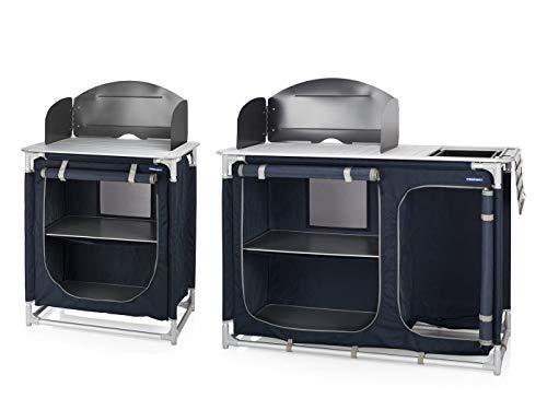 Campingküche Fregadero móvil y protector de viento – 2 armarios de camping – Bloque de cocina para exteriores – Módulos de cocina